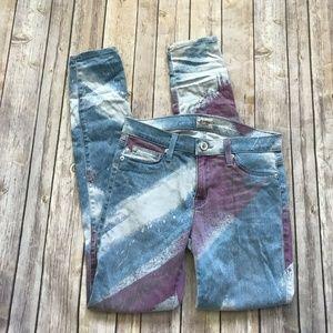Hudson Super Skinny Jeans Nico Mid Rise 26 Paint